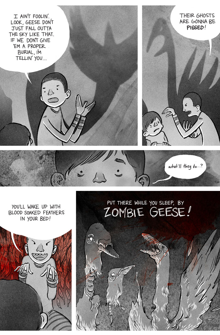 Ryan Andrews, Our Bloodstained Roof, zombie geese, comics